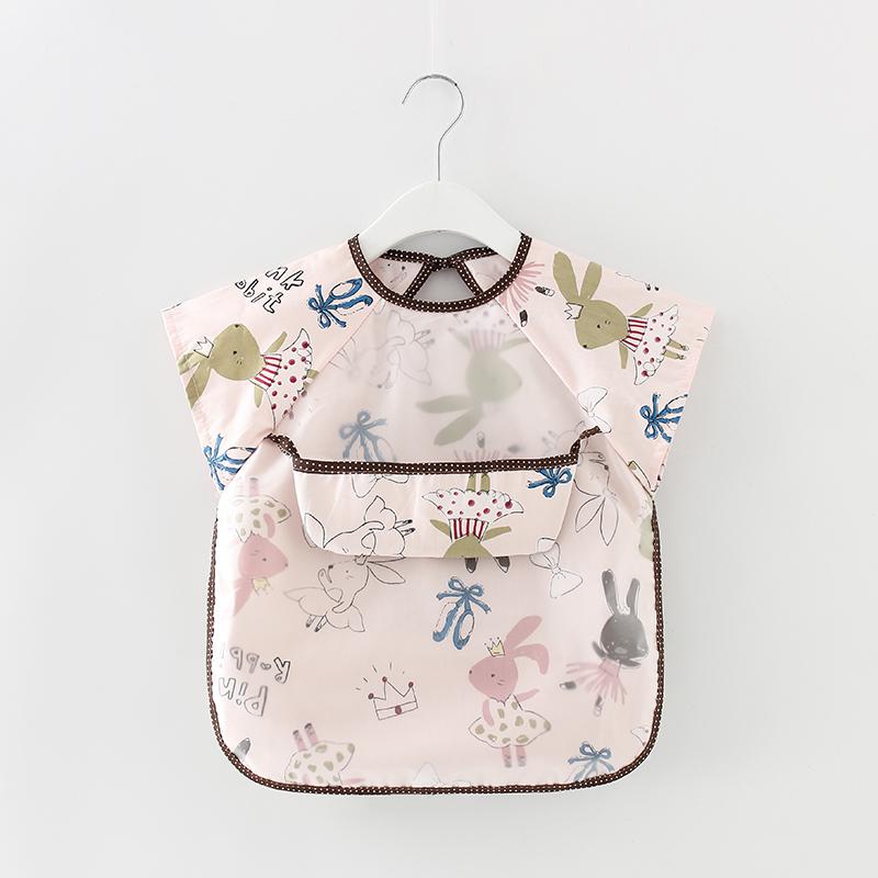 宝宝吃饭罩衣儿童围裙围兜防水防脏夏季薄款反穿衣饭度刑袖婴儿棉