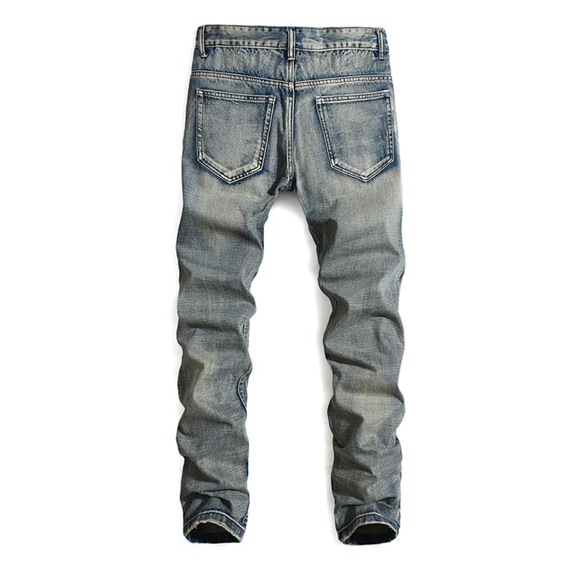 贝克汉姆同款破洞牛仔裤男欧美潮牌直筒修身长裤潮流怀旧