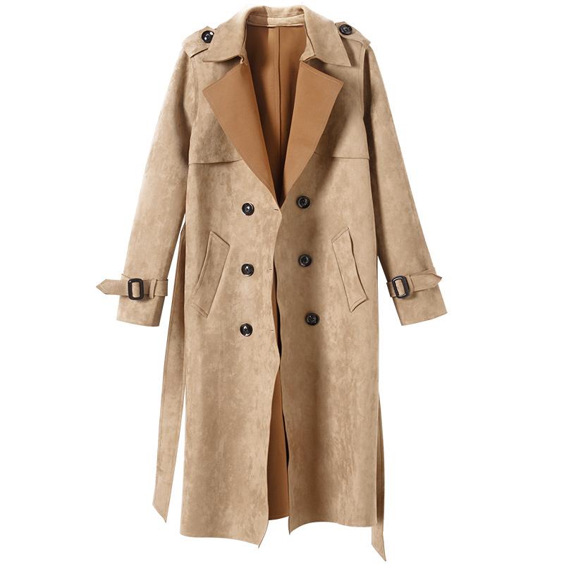 加肥加大码女装大衣中长款薄款鹿皮绒风衣显瘦外套 mm 春秋季胖 2018