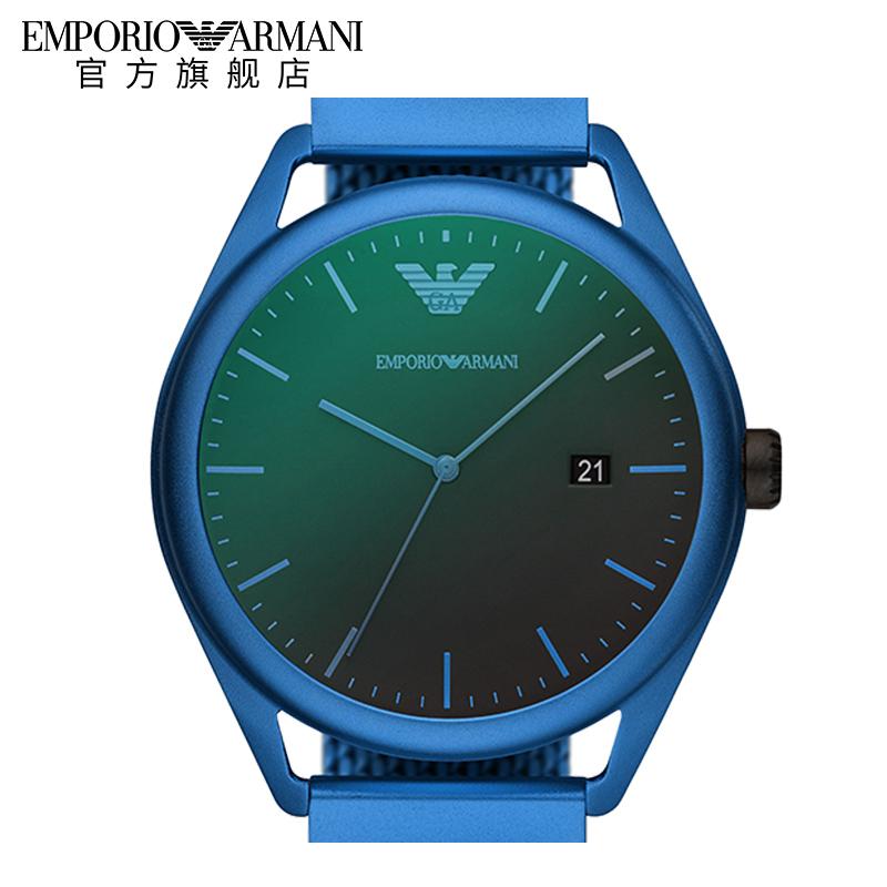 Armani阿玛尼男款手表编制钢带简约时尚日历功能石英男表AR11328