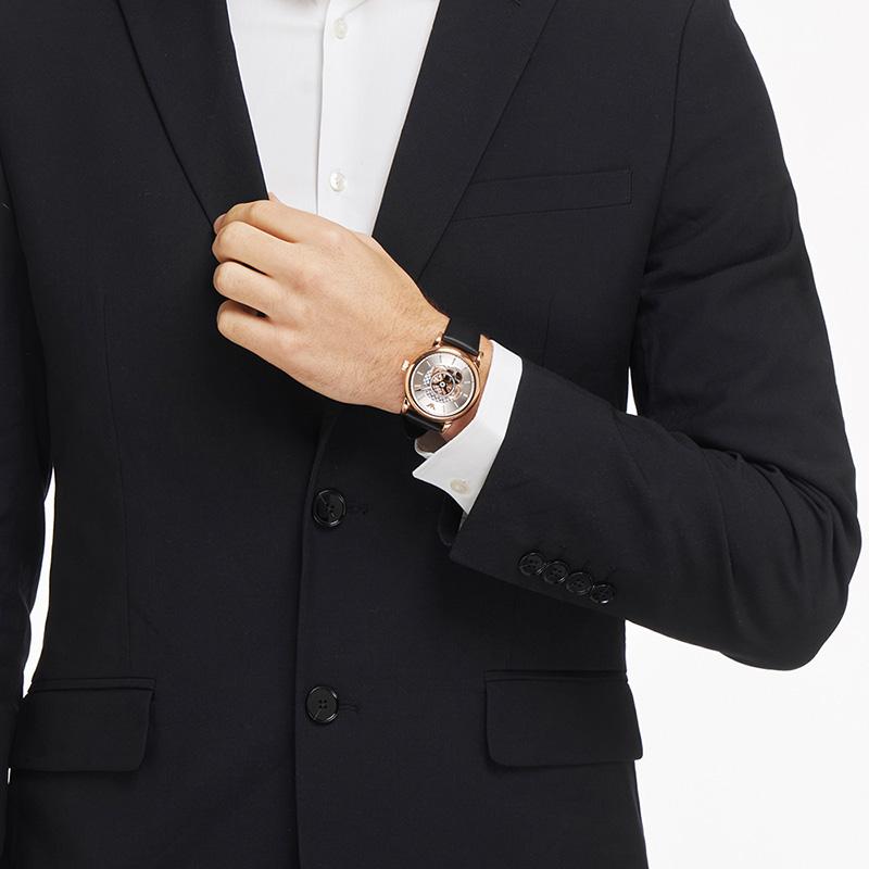 【官方】Armani阿玛尼正品时尚大气镂空皮带手表男机械表AR60013