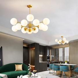 后现代全铜吊灯北欧个性创意客厅魔豆灯简约卧室铜灯餐厅灯分子灯