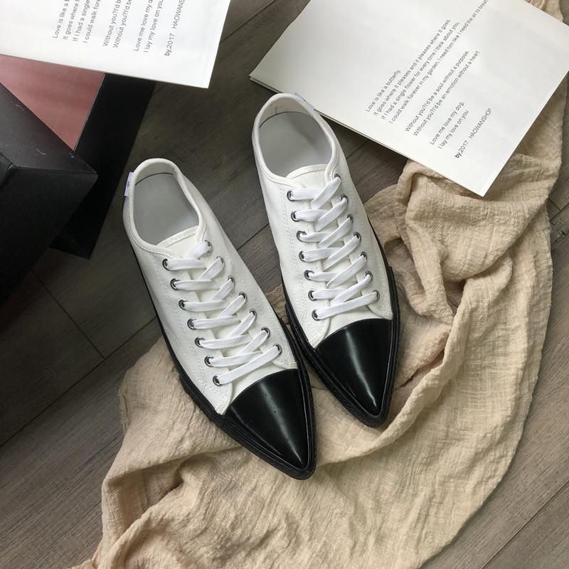 复古平底板鞋女 ins 新款欧美细带低帮尖头帆布鞋 2019 美伢同款女鞋