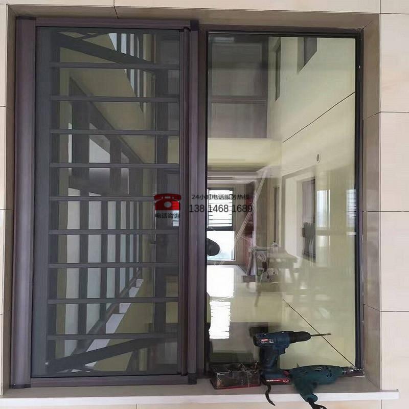 安全防护栏 一体防护纱窗 金刚网纱窗 防盗防蚊纱窗纱门上门定做
