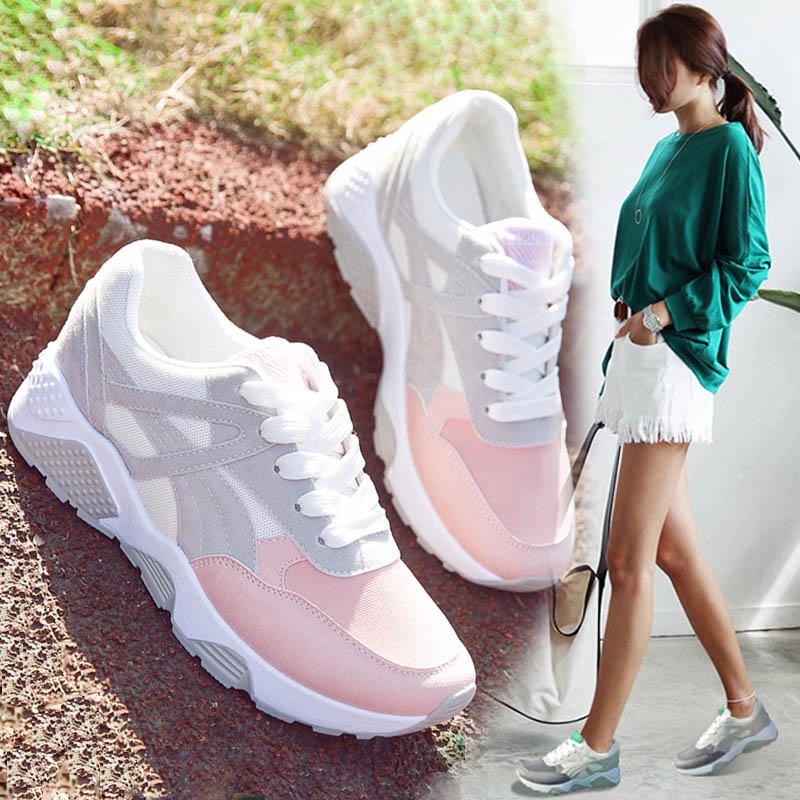 2018夏季透气小白鞋女韩版新款学生跑步鞋百搭厚底休闲运动鞋女鞋