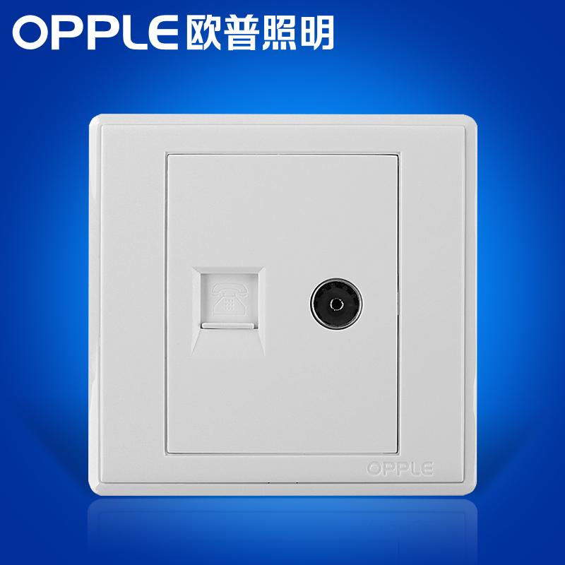 欧普照明 电视插电话插座面板 86型白色有线电视插口电话插孔插座