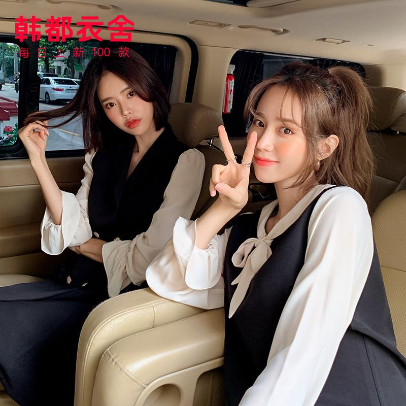 RJ6025 冬装新款韩版女装法式黑裙子闺蜜连衣裙 2019 预售韩都衣舍