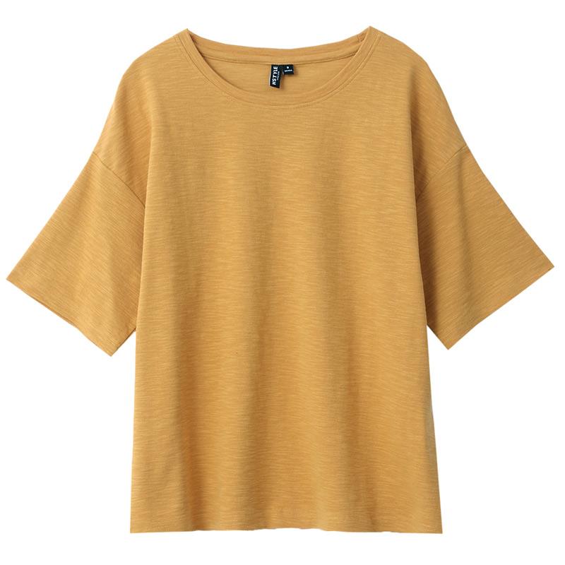 韩都衣舍2019韩版女装夏装新款宽松怪味少女上衣短袖T恤EQ7605婋