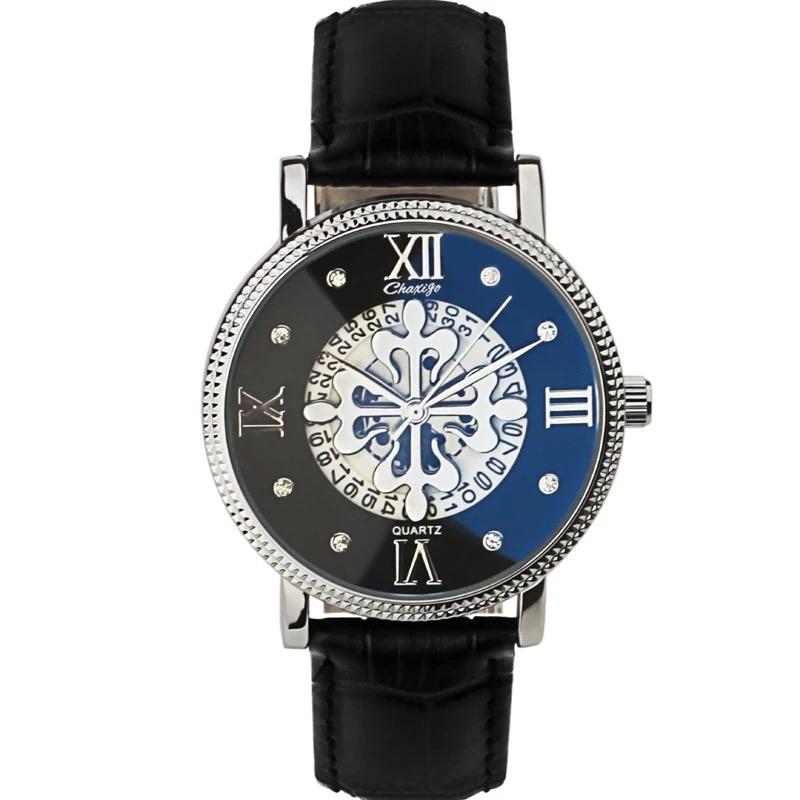 时尚潮流简约男女士手表蓝光玻璃真皮表带防水腕表休闲情侣石英表