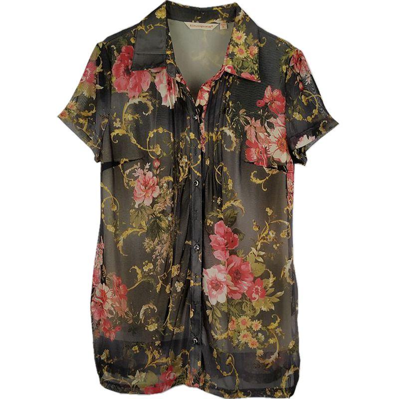 朵帕正品夏装中年女装开扣衬衫宽松大码品牌折扣上允卡亚卡妈妈装