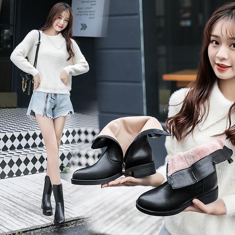 新款英伦粗跟马丁靴平底靴子 2020 百丽真皮中筒靴女冬季加绒 金特