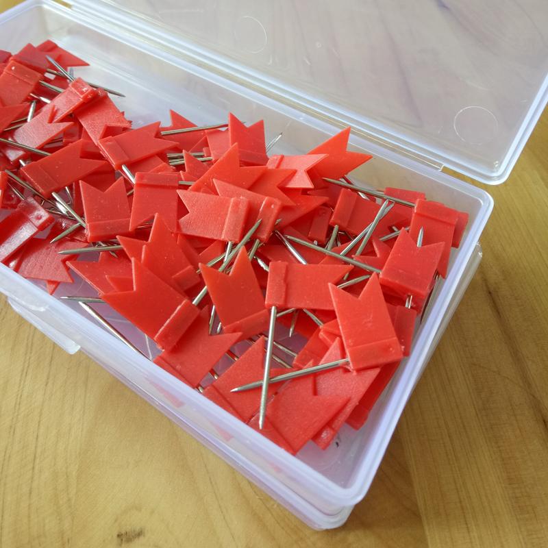 红色红旗钉买三送一 长针彩色地图标注钉单色100个软木图钉工字钉