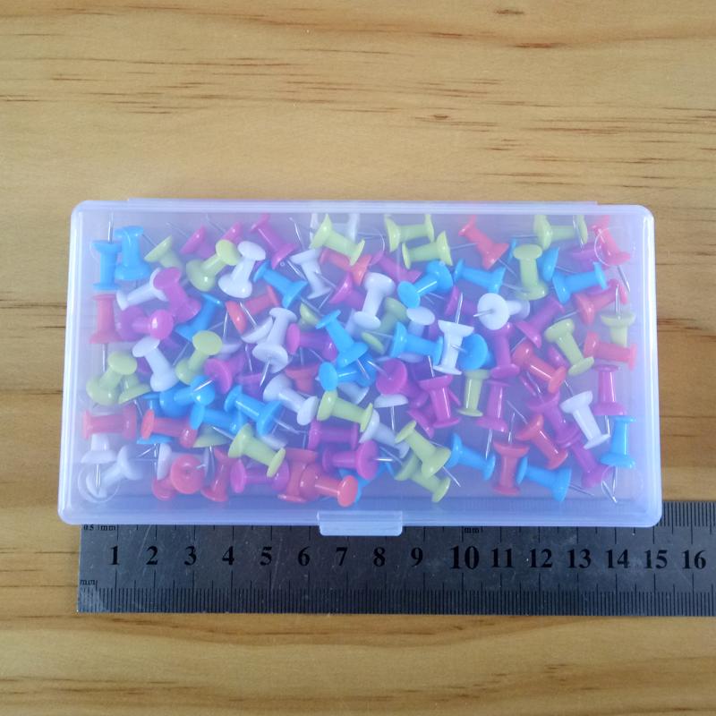 短针8毫米工字钉盒装100颗办公图钉可爱图钉糖果五色环保按钉