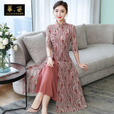 Middle-aged and elderly mother dress improved cheongsam long skirt 2020 summer new large size women's temperament lace dress