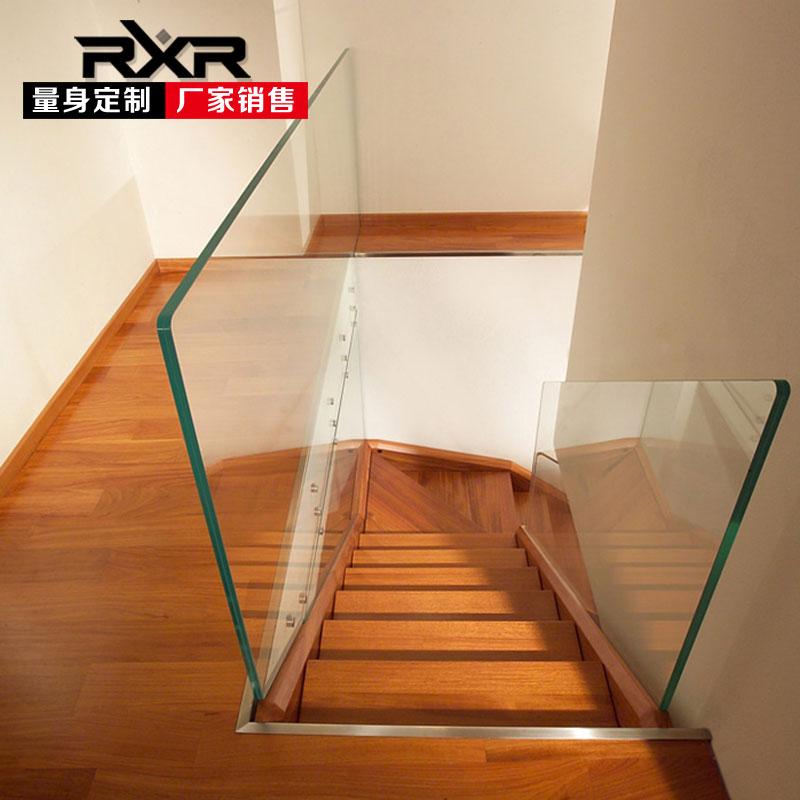 rxr原木整体楼梯复式阁楼别墅楼梯定制DIY楼梯实木踏步板楼梯订做