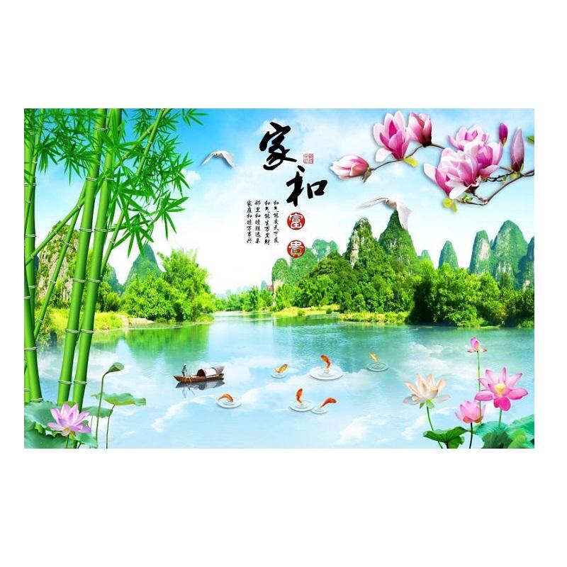 装饰画 18d 家和富贵壁画 3d 年竹子电视背景墙壁纸整张荷花墙布 2020