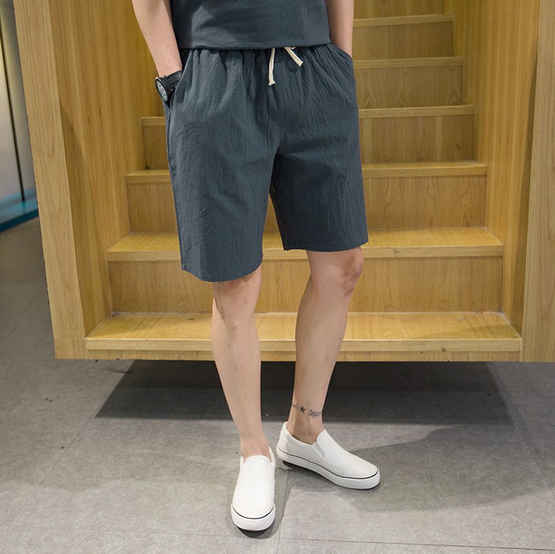夏季男士棉麻短裤家居服睡裤加肥加大宽松纯色亚麻夏天休闲五分裤