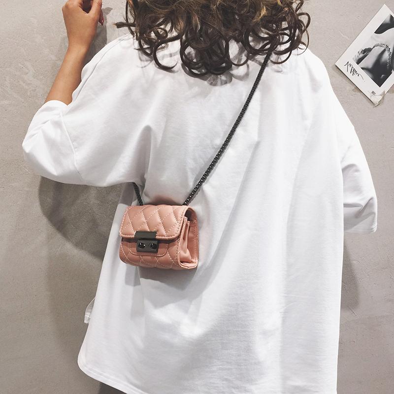 新款时尚斜挎女韩版简约百搭夏款 2019 小包包菱格女包 mini 夏天链条
