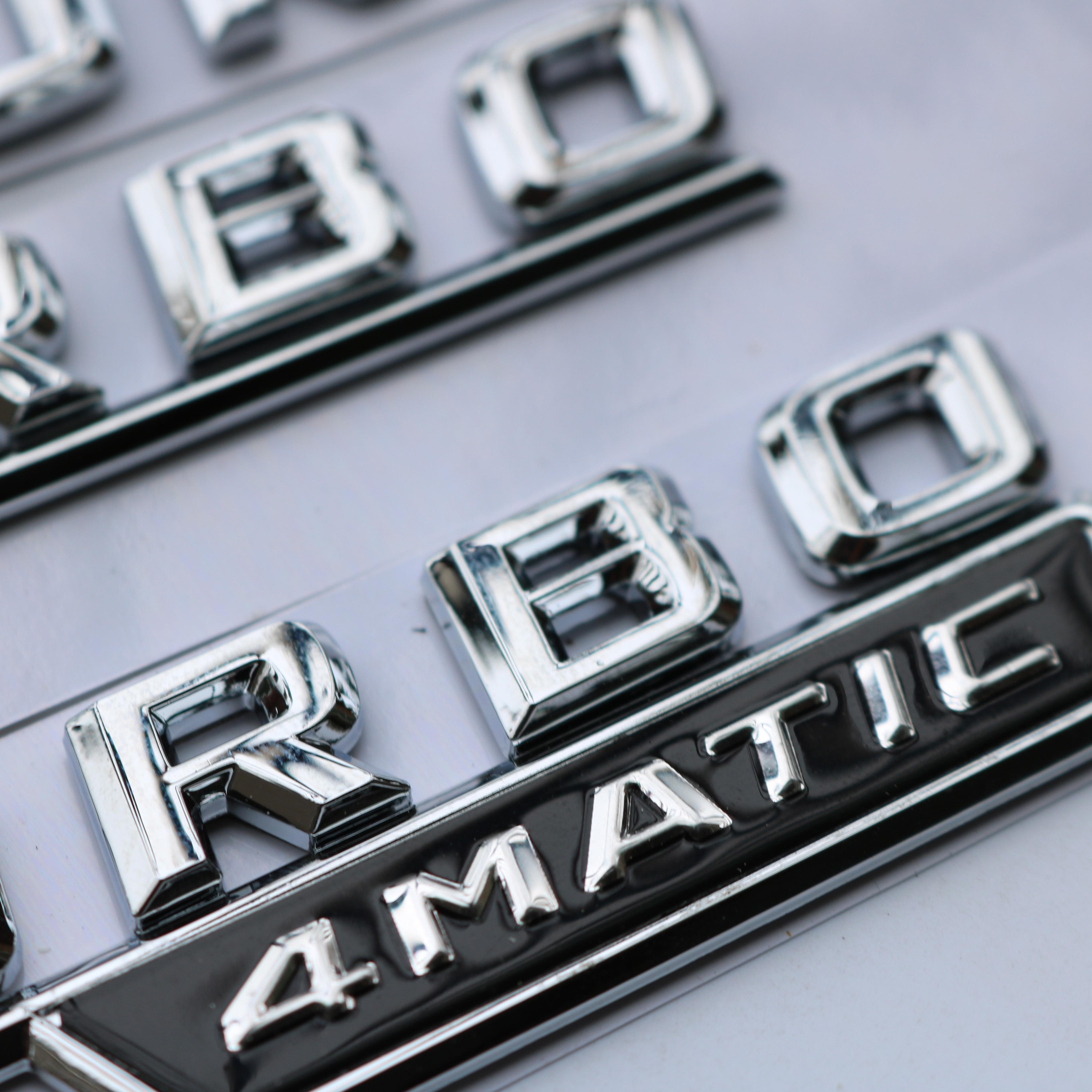 新款奔驰C级C63 S C43 AMG后尾标V8 BITURBO 4MATIC改装车标车贴