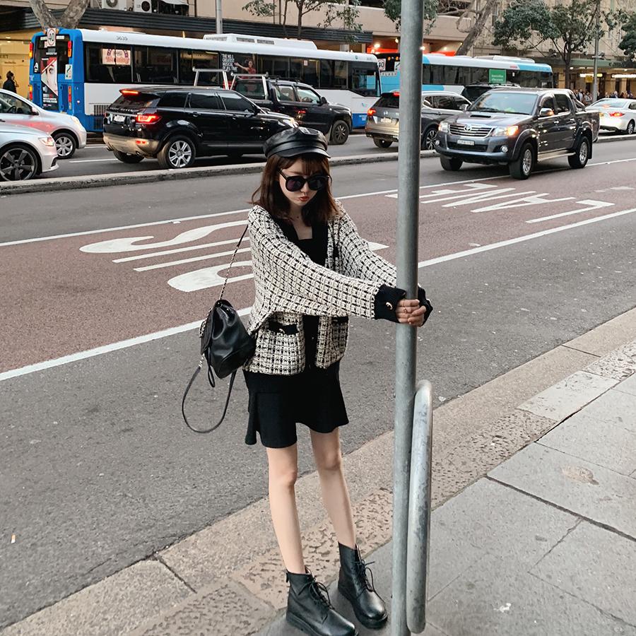 时髦酷酷马丁靴女英伦风真皮百搭帅气机车靴女短靴子 金蘑菇菇