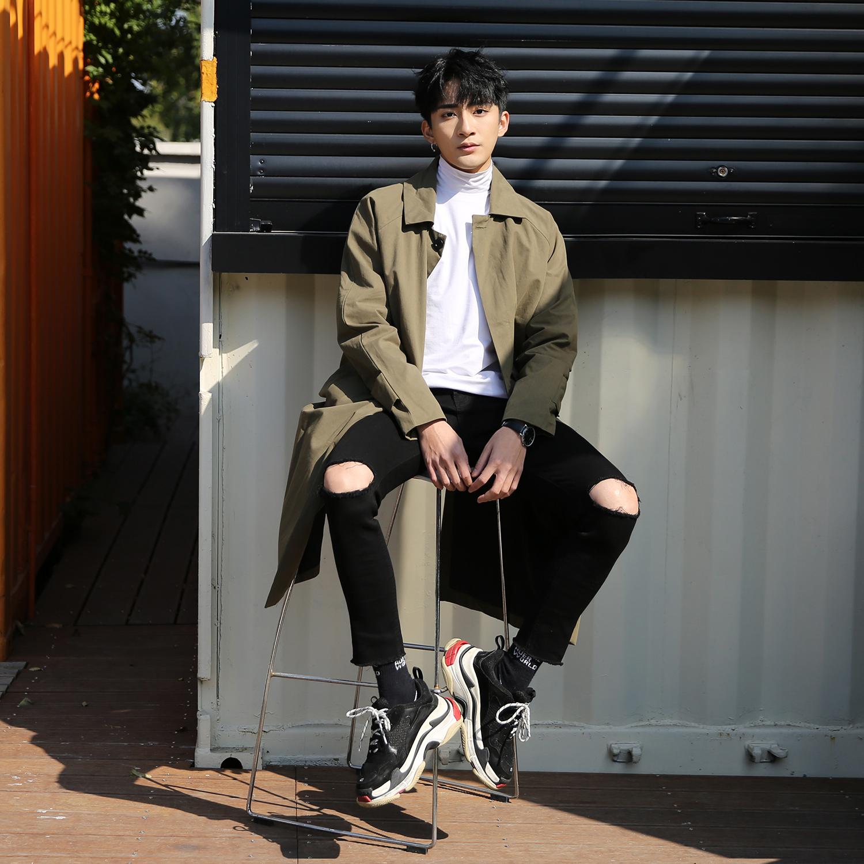 风衣男中长款帅气过膝男士2019秋季新款春秋韩版潮流大衣薄款外套