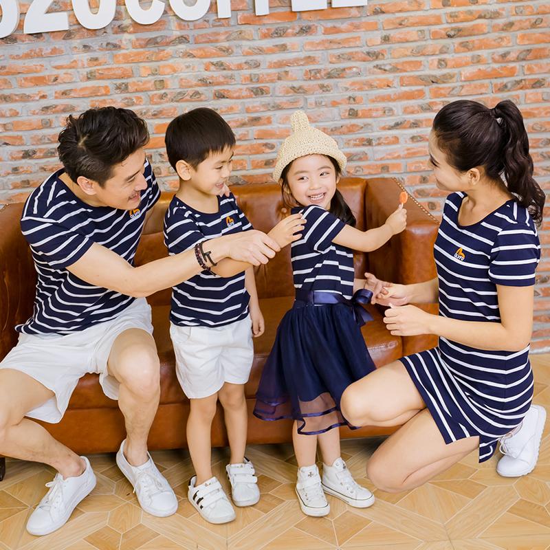 夏季一家三口亲子装2016新款全家装韩版母女装连衣裙(9.9活动)
