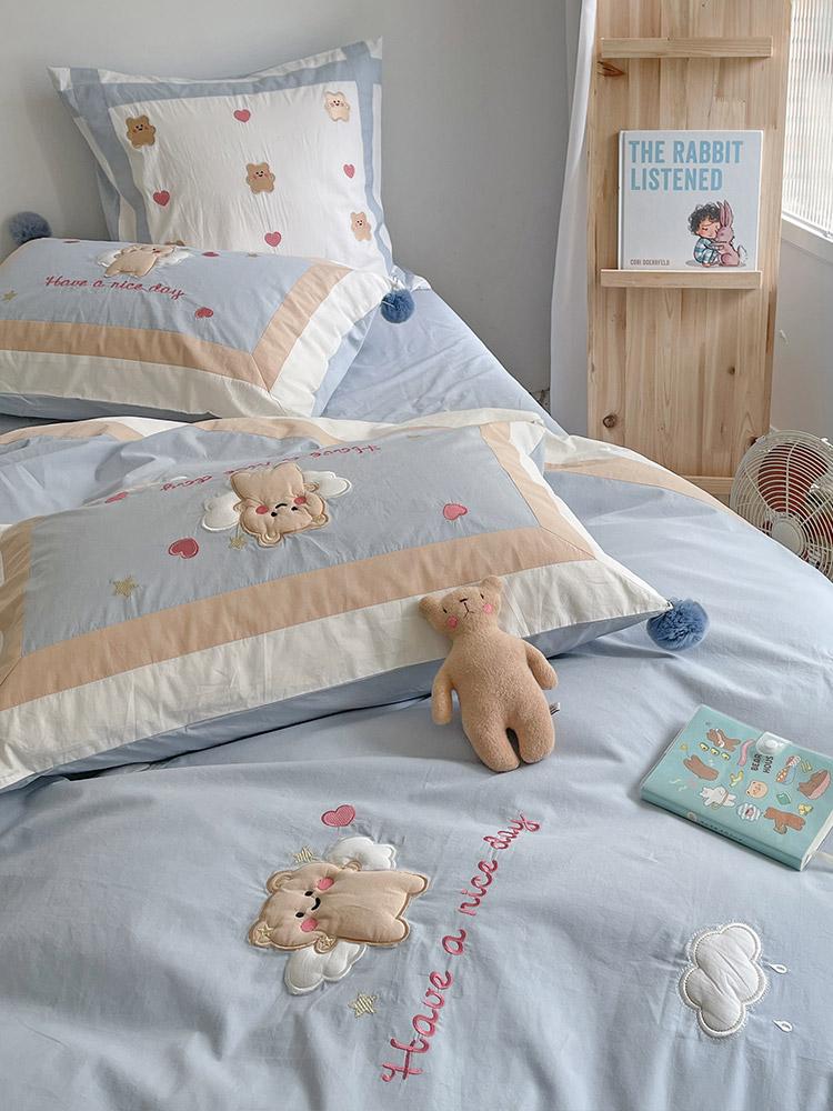 卡通风全棉水洗棉小熊贴布绣四件套可爱清新纯棉被套床单床上用品