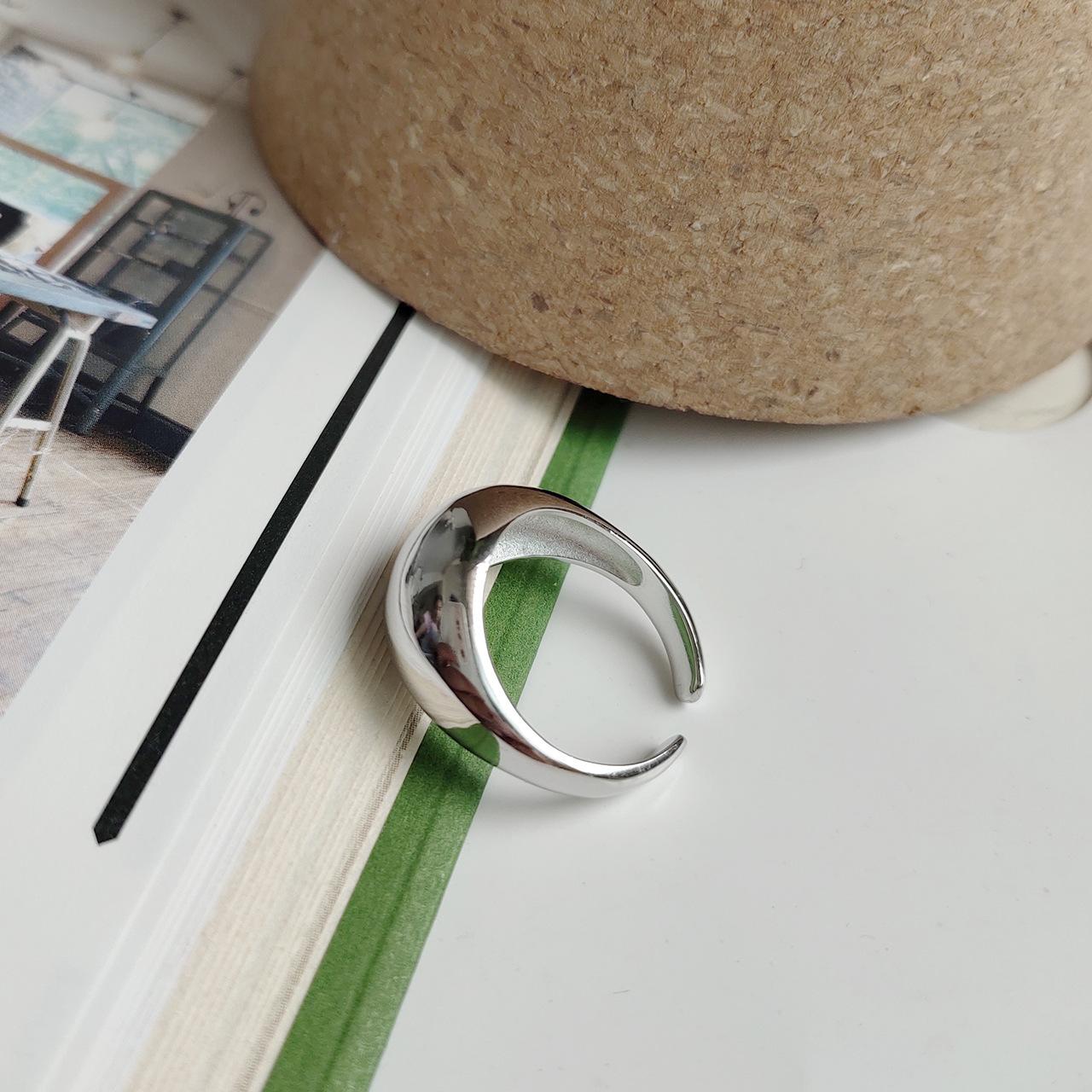 纯银戒指女日韩  指环食指 INS 光面极简不规则潮人网红 S925