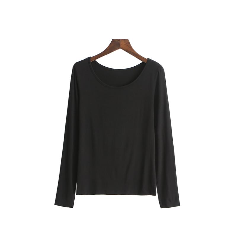 莫代尔打底衫女长袖t恤春秋薄款黑色大码圆领低领秋衣女显瘦上衣