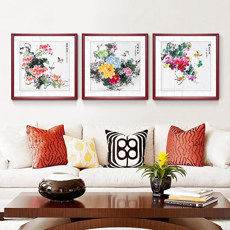 玄关牡丹挂画手绘国画花开富贵客厅装饰画餐厅三连画三联花鸟墙画