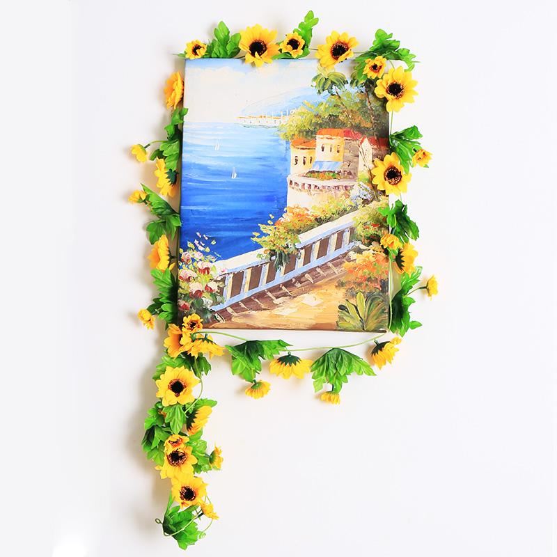 仿真太阳花道具假花向日葵仿真花 太阳花幼儿园学校装饰假花藤条