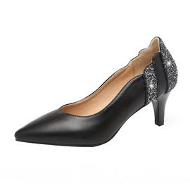 品牌断码清仓百丽 晶客真皮单鞋女中跟尖头皮鞋细跟高跟女鞋粗跟