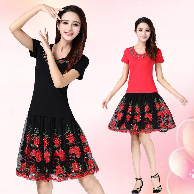 杨丽萍广场舞服装女夏装新款跳舞套装莫代尔衣服短袖2019舞蹈服裙
