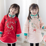 Girl's cheongsam winter clothing thickened Tang costume New Year's clothing Chinese style cotton jacket Han Chinese New Year's clothing girl's clothing