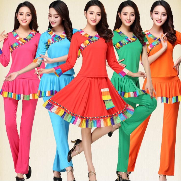 2018广场舞服装新款套装藏族舞蹈演出服 民族风舞蹈演出服女表演