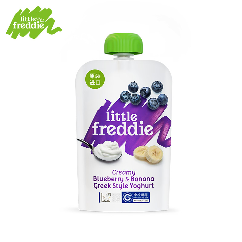 小皮欧洲原装进口蓝莓香蕉儿童常温酸奶水果泥100g/袋 辅食泥零食