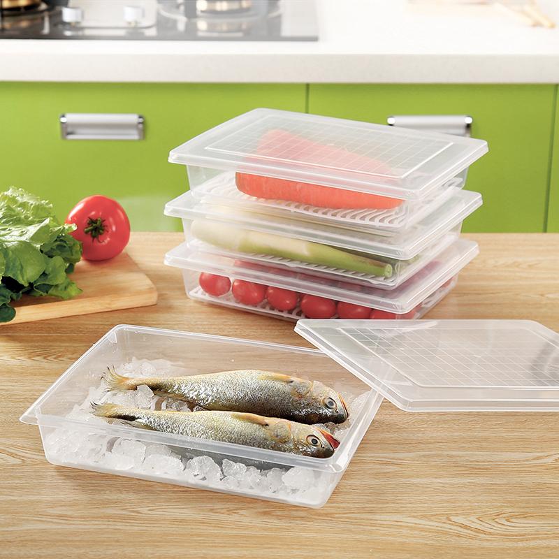 廚房冰箱瀝水保鮮盒長方形透明食品冷凍密封盒水果蔬菜收納盒子