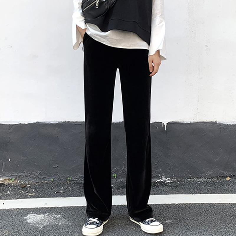 孕妇裤子秋冬外穿丝绒阔腿裤加绒加厚垂感托腹长裤休闲直
