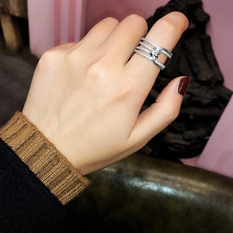 925纯银食指戒指女时尚个性ins潮江疏影同款小众设计网红指环戒子