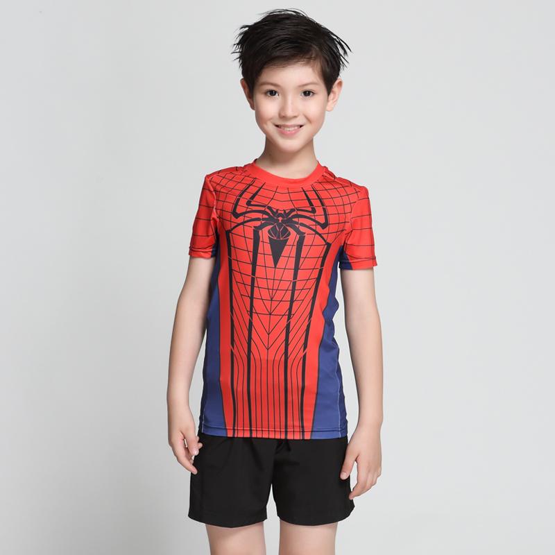 儿童紧身衣男短袖t恤速干透气跑步训练蜘蛛侠健身服运动套装上衣