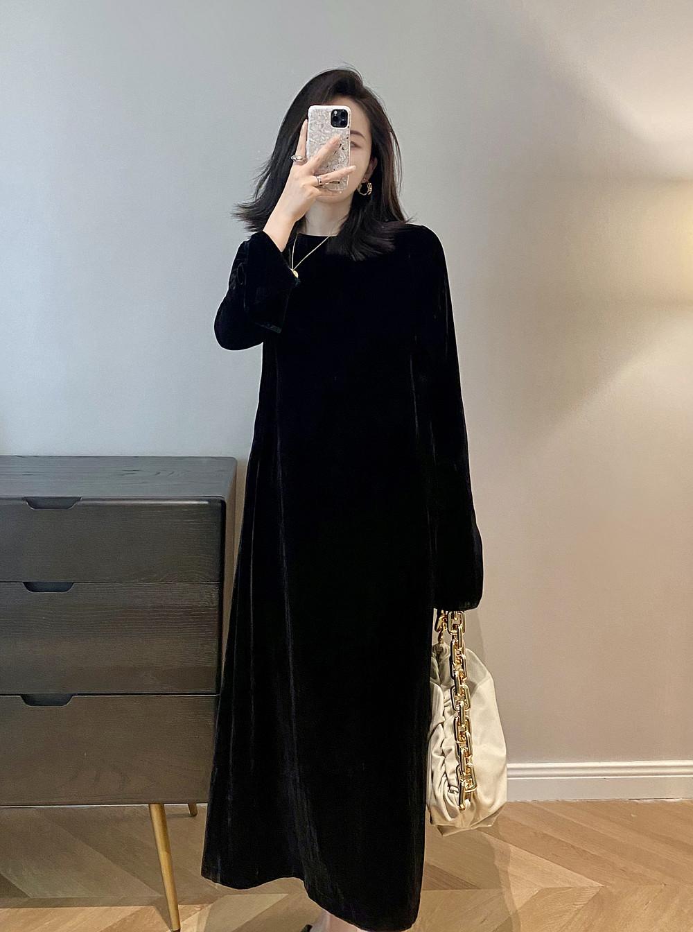 LUV BLANC重磅高ji感 进口真丝丝绒鱼尾袖 宽松显瘦显瘦连衣裙女
