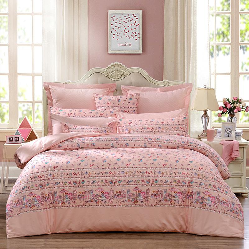 富安娜四件套全棉纯棉公主风4三件套床单被套床笠网红款床上用品