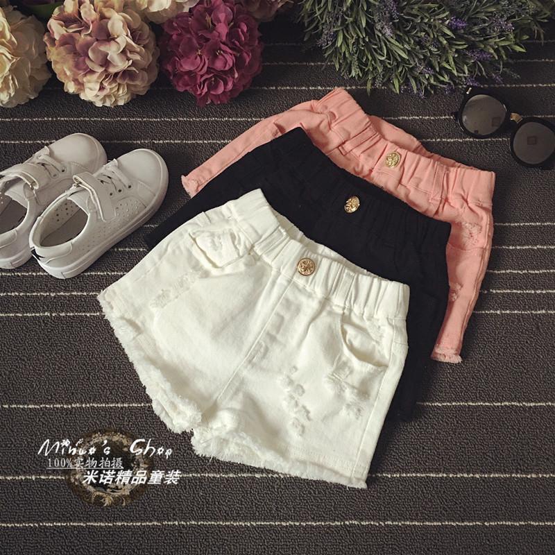 女童白色牛仔短褲2019新款夏純棉破洞兒童韓版中大童薄款熱褲外穿