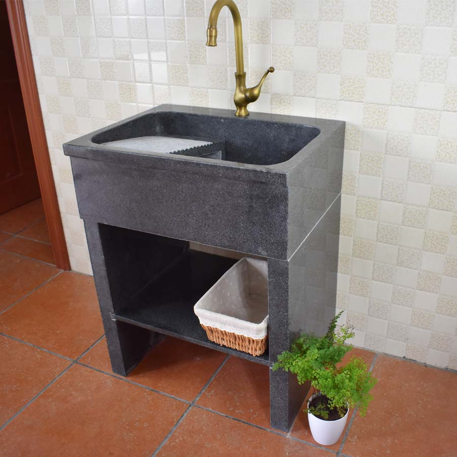 天然大理石头小规格洗衣槽洗衣池带搓衣板脸盆阳台台下洗衣盆