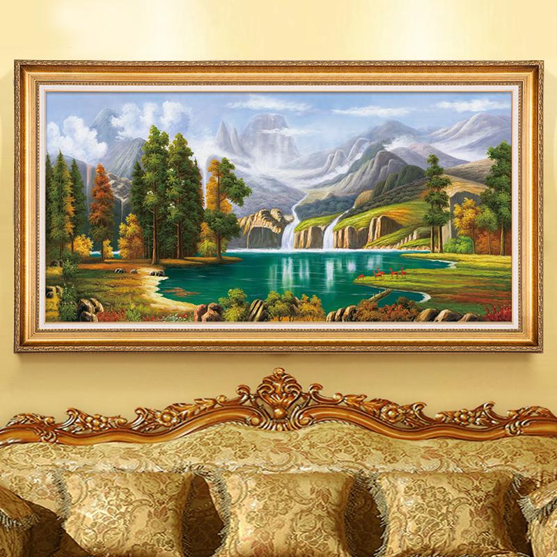 北欧原创纯手工绘油画欧式挂画客厅聚宝盆山水风景餐厅装饰画定制