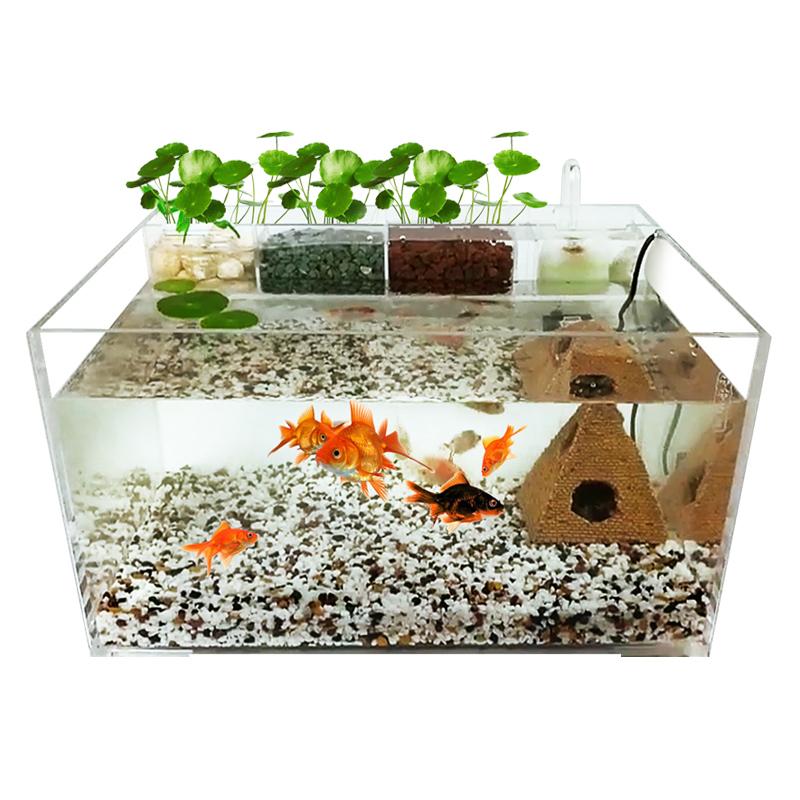 创意生态鱼缸亚克力乌龟缸小型水龟缸客厅水陆造景缸带过滤免换水
