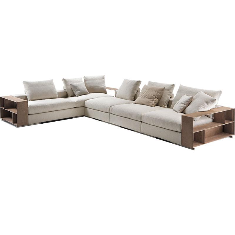北欧布艺沙发组合大户型转角亚麻客厅设计师家具羽绒沙发现代简约