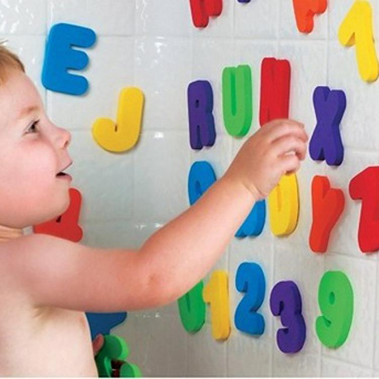 36片兒童寶寶洗澡趣味認知漂浮字母數字泡沫貼貼牆嬰兒戲水玩具