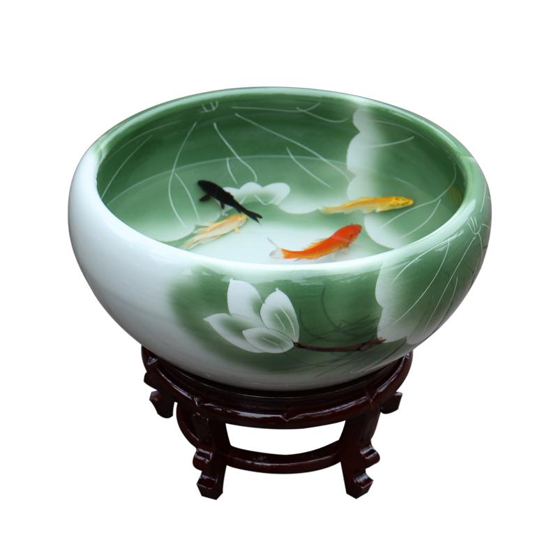 景德镇陶瓷鱼缸锦鲤养鱼盆荷花缸乌龟缸碗莲睡莲盆客厅风水金鱼缸