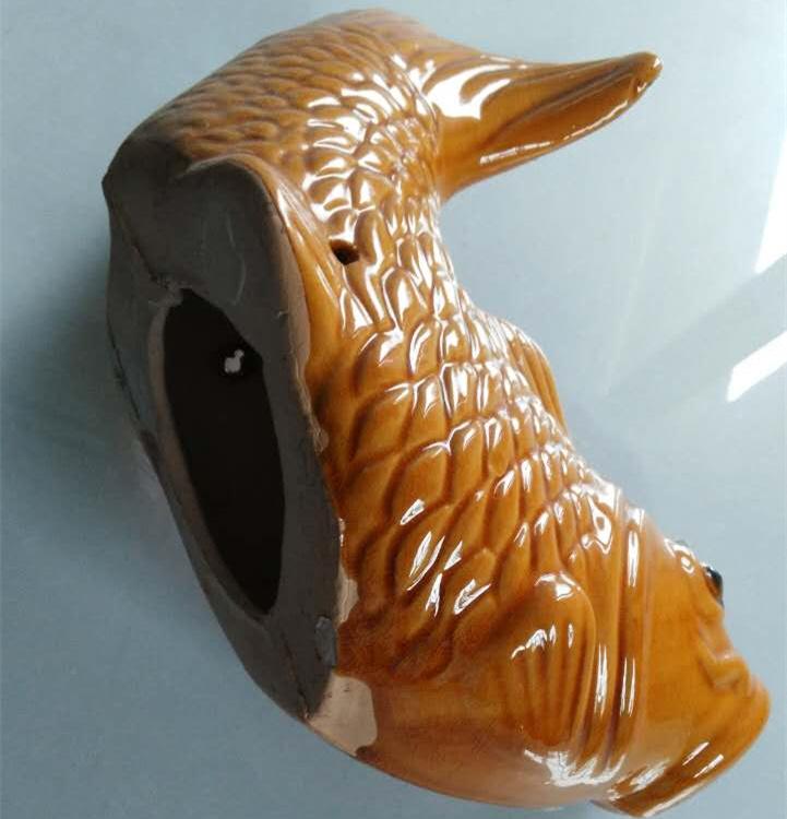 陶瓷鲤鱼屋顶出水口别墅屋檐排水口室外龙头滴水池喷水管装饰金鱼